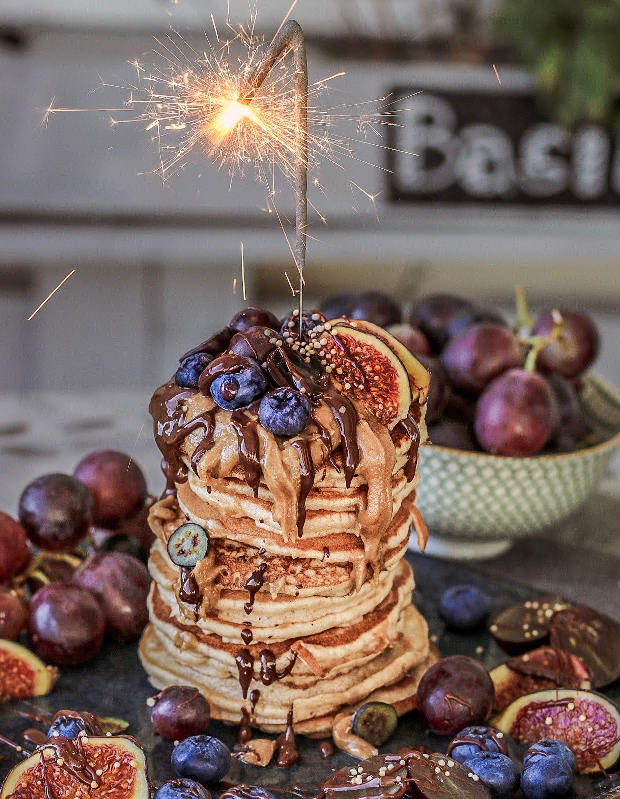 pancake tower with sparkler